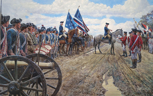 'The World Turned Upside Down' by Mort Kinstler 2006 painting depicting the Surrender of the British army at Yorktown, Virginia on September 5, 1781 • Gloriam Deo • Honor and Praise to the Maker of All Things